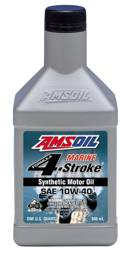 Amsoil 10w 40 synthetic formula 4 stroke marine oil wcf for Best motor oil in the world